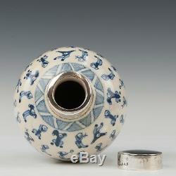 Belle Chinoise Blue & Pâte Molle Blanche Boîte À Thé En Porcelaine, 19 Ct. Marqué Kangxi