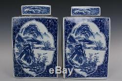 Belle Fin Chinois Bleu Et Blanc Fleurs En Porcelaine Et Les Oiseaux Thé Caddies