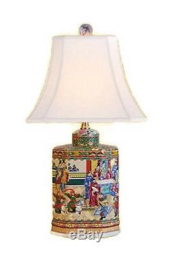 Belle Motif Canton Rose Thé En Porcelaine Caddy Lampe De Table 20