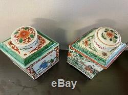 Belle Paire Chinoise Émaillé Famille Rose À Thé En Porcelaine Caddies, Forme De Diamant