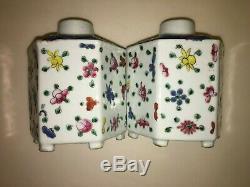Belle Paire Chinoise Émaillé Famille Rose Multicolor Thé En Porcelaine Caddies 6 Côtés
