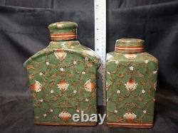 Belle Paire De Caddie Asiatique Antique De Thé De Porcelaine En Excellent État