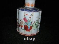 Belle Porcelaine Antique Signée Qianlong Chinese Tea Caddy 6x5x5