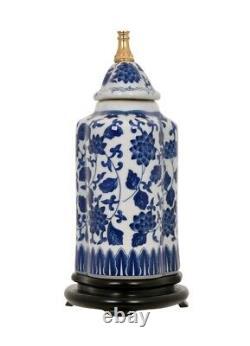 Belle Porcelaine Bleu Et Blanc Floral Thème D'été Tea Jar Caddy Lampe 22