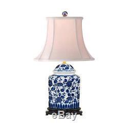 Belle Porcelaine Bleue Et Blanche Florale D'été Thème Thé Pot Caddy Lampe 22