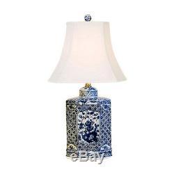 Belle Porcelaine Bleue Et Blanche Hexagonal Tea Caddy Lampe De Table Floral 20.5
