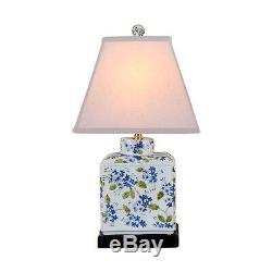 Blanc Porcelaine Chinoise Vert Bleu Thé Caddy Motif Floral Lampe De Table 20