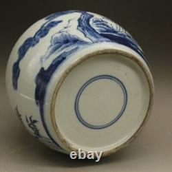 Bleu Chinois Et Blanc Porcelaine Qing Plum Blossom Pin Bamboo Thé Caddy Pot