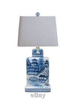 Bleu Et Blanc Bleu Saule À Thé En Porcelaine Caddy Jar Lampe De Table 17