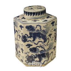 Bleu Et Blanc Foo Chien Motif À Thé En Porcelaine Caddy Pot 11.5