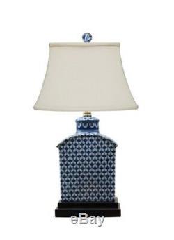 Bleu Et Blanc Géométrique À Thé En Porcelaine Caddy Lampe Jar 17,5