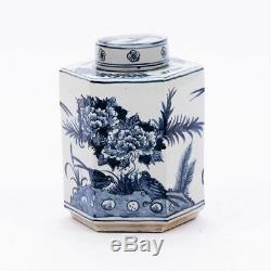 Bleu Et Blanc Oiseau Motif À Thé En Porcelaine Caddy Pot 11