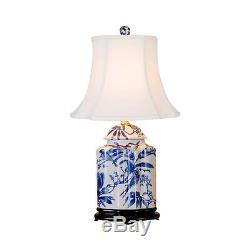 Bleu Et Blanc Porcelaine Tea Caddy Oiseau Motif Lampe De Table Chinois 22