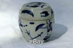 Bleu Et Blanc Thé Caddy Qing Antique Chinese Porcelain Scholar