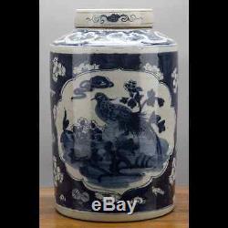 Bleu Porcelaine Orientale Chinoise Et Blanc 16 Tea Caddy Rond Motif D'oiseau