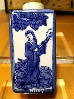 Blue Underglaze Porcelaine Thé Caddy