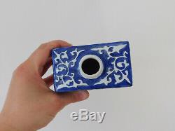 C. Antique Chinois Jiaqing Bleu & Blanc Biscuit Moulé À Thé En Porcelaine Caddy