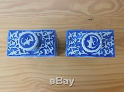 C. Chinois Antique Jiaqing Bleu Et Blanc Moulé À Thé En Porcelaine Caddy Set Paire