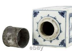 C1890 Chinois Blue & White Porcelain Tea Caddy