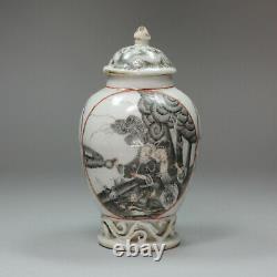 Caddie Chinois Antique De Thé De Grisaille, Qianlong (1736-95)