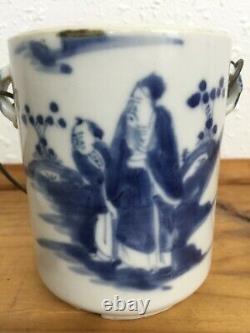 Caddies De Thé Chinois Bleu Et Blanc De Porcelaine Anciennes Kangxi 18ème C