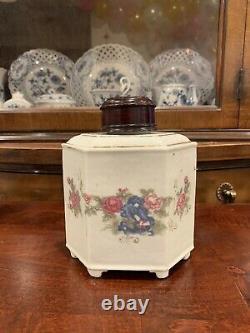Caddy Antique Chinois De Thé De Porcelaine D'exportation Avec Le Couvercle En Bois