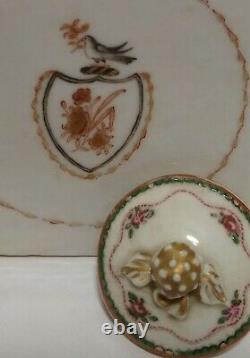 Caddy Antique Chinois De Thé De Porcelaine D'exportation Avec Le Couvercle Original 1775-90 18ème Siècle