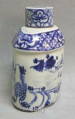 Caddy Antique De Thé Blanc Bleu Chinois De Porcelaine