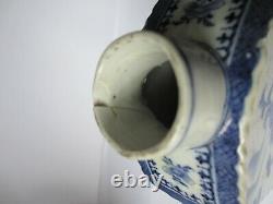 Caddy Chinois De Thé Du 18ème Siècle, Scènes Peintes Bleues Et Blanches, Un F