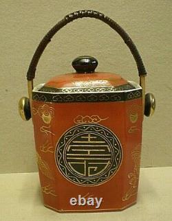 Caddy Chinois Vintage De Thé De Porcelaine Avec La Poignée De Canne (pb1)