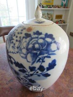 Caddy De Porcelaine Antique / Gingerjar- Bleu Et Blanc Avec Lis. Beauté