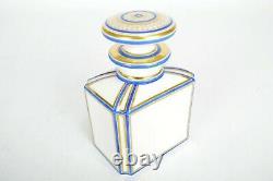 Caddy De Thé Français Antique / Porcelaine Or Et Bleu / 1880 / Bouteille De Parfum 5.7