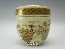 Cérémonie Japonaise Du Thé Antique Caddy Natsume Satyuma Porcelaine Or Japon