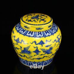 Chine Ancienne Grue Peinture Jaune Bleu Blanc Porcelaine Pot Couvercle Nuage Propice