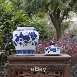 Chine Antique Porcelaine Qing Pot Pot Pastèque Peinture Bleu Blanc Boîte À Thé