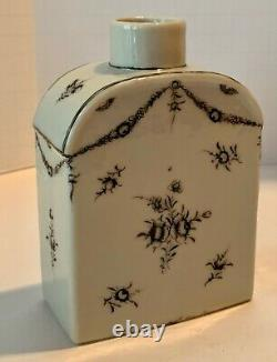 Chine Export Grisaille Tea Caddy Floral Spray Swag Fort Provenance C. 1780