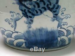 Chine Porcelaine Bleue Et Blanche Thé Caddy Main Dieu Bête Chanceux Painted Vieux Pots