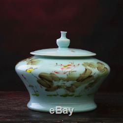 Chine Porcelaine De Glacis De Vert Pois Peintes À La Main Couvercle Lotus Boîte À Thé