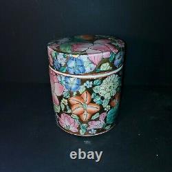 Chine Porcelaine Peint À La Main Floral Lotus Tabac Jar Tea Caddy Environ 6.5h