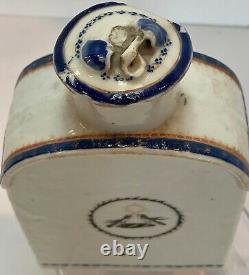 Chinen Export Armorial Bird Tea Caddy Avec LID Début Du 19ème Siècle