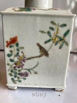 Chinese 1800s Qing Dynasty Peint À La Main Famille Rose Porcelaine Thé Caddy Jar