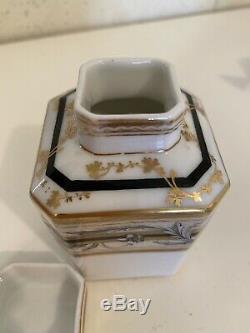 Chinese Export À Thé En Porcelaine Caddy Famille Rose Vase Place Amorial 3 1/2 Pouces