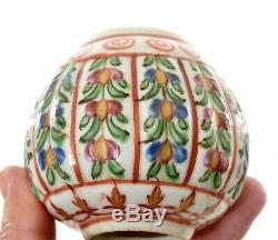 Chinese Export Thai Famille Rose Porcelaine Benjarong Bencharong Tea Caddy As Is