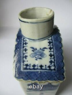 Chinois 18th Century Tea Caddy, Blue & White Painted Scenes Fair Condition A F