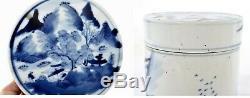 Chinois 1900 Bleu Et Blanc Porcelaine Tea Caddy Boîte Rivière Scène As Is
