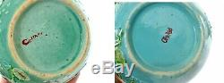 Chinois 2 1930 Famille Rose Turquoise Porcelaine Lily Grue Tea Caddy Pot Vase