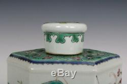 Chinois Belle Famille Rose Porcelaine Caractères Thé Caddies