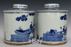 Chinois Belle Paire Bleu Et Blanc En Porcelaine Immortal Caractères Thé Caddies