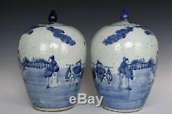 Chinois Belle Paire Porcelaine Bleue Et Blanche Caractères Thé Caddies