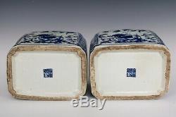 Chinois Belle Paire Porcelaine Bleue Et Blanche De Fleurs Et D'oiseaux Thé Caddies